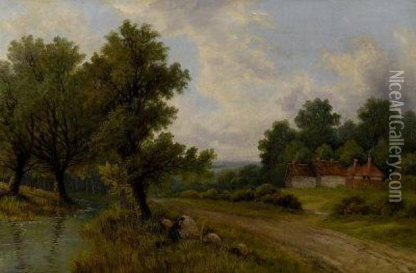 A Cottage In An Extensive Wooded Landscape Oil Painting - Octavius Thomas Clark