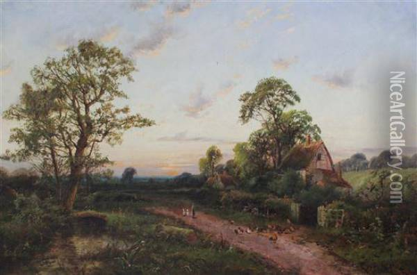 Hens And Cottages Beside A Lane Oil Painting - Octavius Thomas Clark