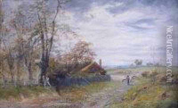 Driving Sheep Oil Painting - Octavius Thomas Clark