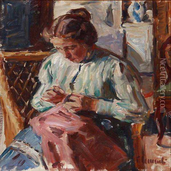 A Lady With Her Needlework Oil Painting - Gad Frederik Clement