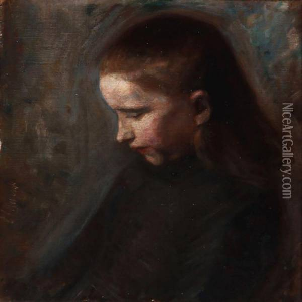 Portrait Of A Girl Oil Painting - Gad Frederik Clement
