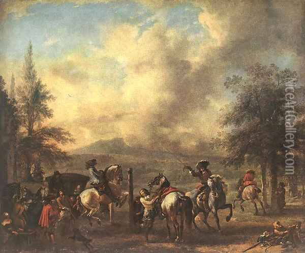 Riding School Oil Painting - Philips Wouwerman
