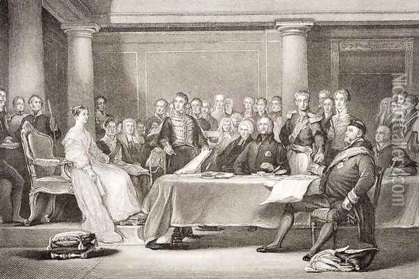 Queen Victoria's first Council, Kensington Palace, 21 June 1837, from llustrations of English and Scottish History Volume II Oil Painting - Sir David Wilkie