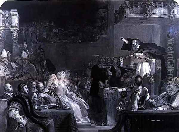 The Preaching of John Knox, c.1837 Oil Painting - Sir David Wilkie