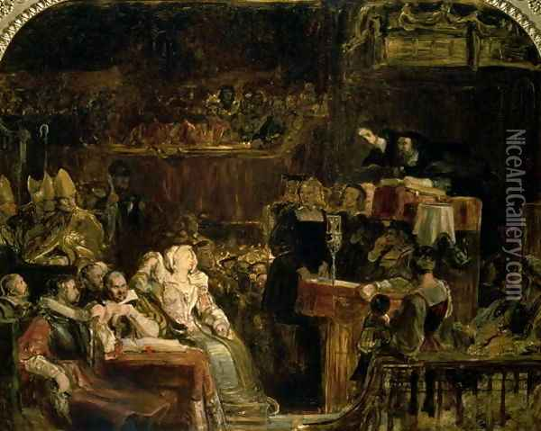 The Preaching of John Knox Before the Lords of Congregation, 10 June 1559 Oil Painting - Sir David Wilkie