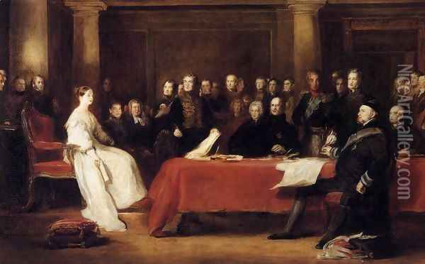 The First Council of Queen Victoria 1838 Oil Painting - Sir David Wilkie