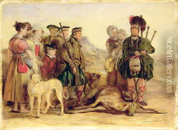The Death of the Red Deer, with McIntyre and McGregor, Stalker and Piper to the Duke of Atholl, 1821 Oil Painting - Sir David Wilkie