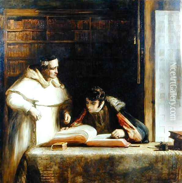 Washington Irving (1783-1859) Researching Columbus in the Convent of Rabida, 1828-29 Oil Painting - Sir David Wilkie