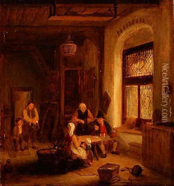 Interior with Figures by a Window Oil Painting - Sir David Wilkie