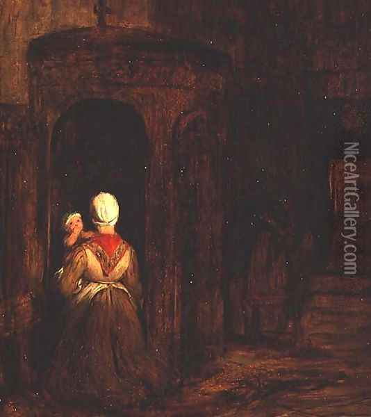 Woman with a Baby Kneeling at a Confessional Oil Painting - Sir David Wilkie