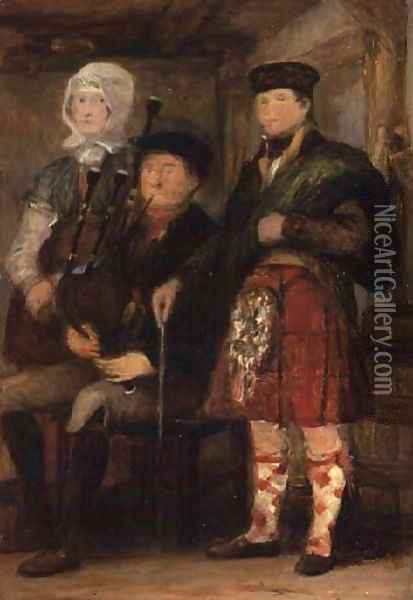 Highland Interior with a Bagpiper Oil Painting - Sir David Wilkie