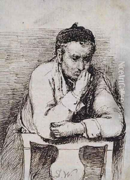 A Man Leaning on the Back of a Chair Oil Painting - Sir David Wilkie