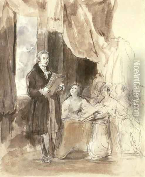 Sir Robert Peel Reading to Queen Victoria Oil Painting - Sir David Wilkie