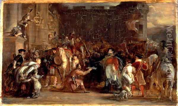 The Entrance of George IV (1762-1830) at Holyroodhouse, 1828 Oil Painting - Sir David Wilkie