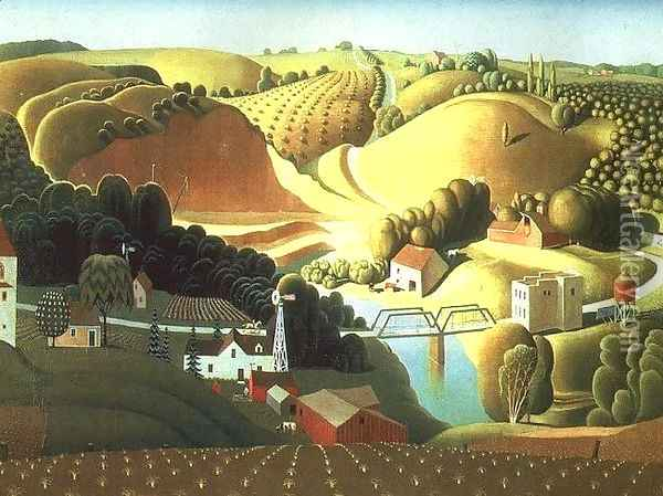 Stone City Oil Painting - Grant Wood