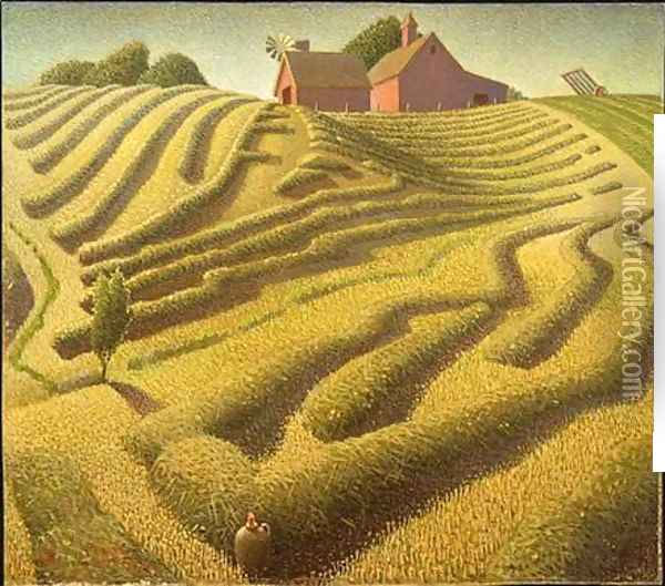 Haying Oil Painting - Grant Wood