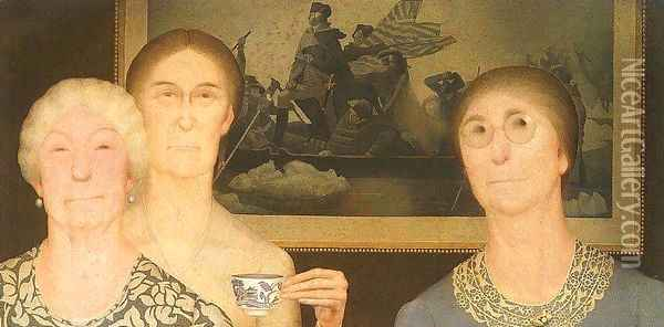 Daughters of the Revolution Oil Painting - Grant Wood