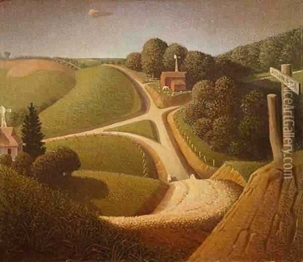 New Road Oil Painting - Grant Wood