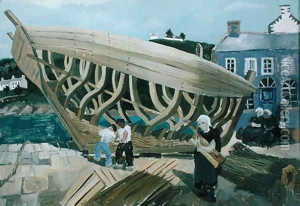 Building the Boat, Treboul, 1930 Oil Painting - Christopher Wood