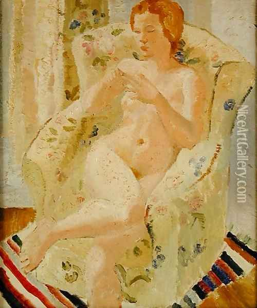 Seated Nude Girl in an Interior, 1928 Oil Painting - Christopher Wood