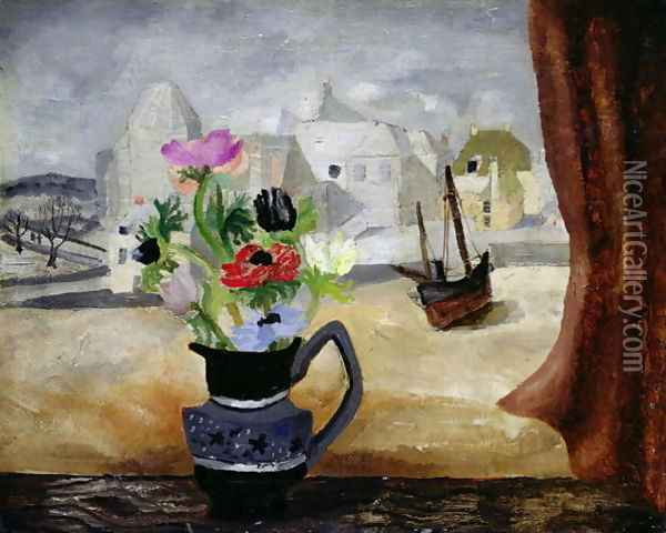 Anemones in a Cornish Window Oil Painting - Christopher Wood