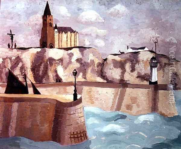 Church on the Cliff, Dieppe, 1929 Oil Painting - Christopher Wood
