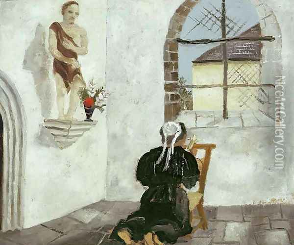 Breton Woman at Prayer Oil Painting - Christopher Wood
