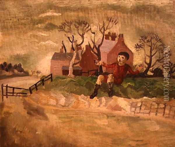 Boy Jumping a Stream Oil Painting - Christopher Wood