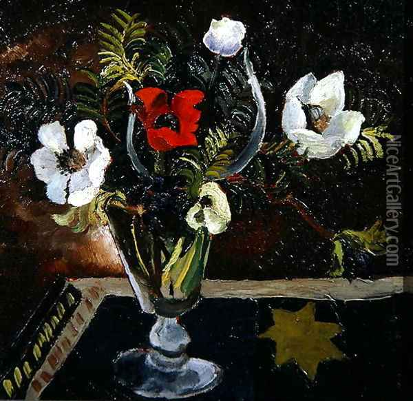 Anemones in a Glass Oil Painting - Christopher Wood