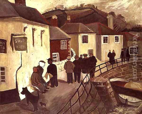 The Ship Hotel, Mousehole, Cornwall, 1928-9 Oil Painting - Christopher Wood