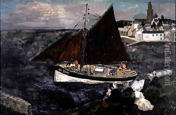 French Crab Boat, Treboul, 1929 Oil Painting - Christopher Wood