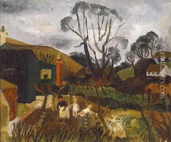 Cottages in Cornwall, 1928 Oil Painting - Christopher Wood