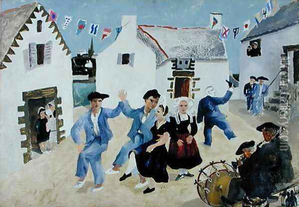 Dancing Sailors, Brittany, 1930 Oil Painting - Christopher Wood