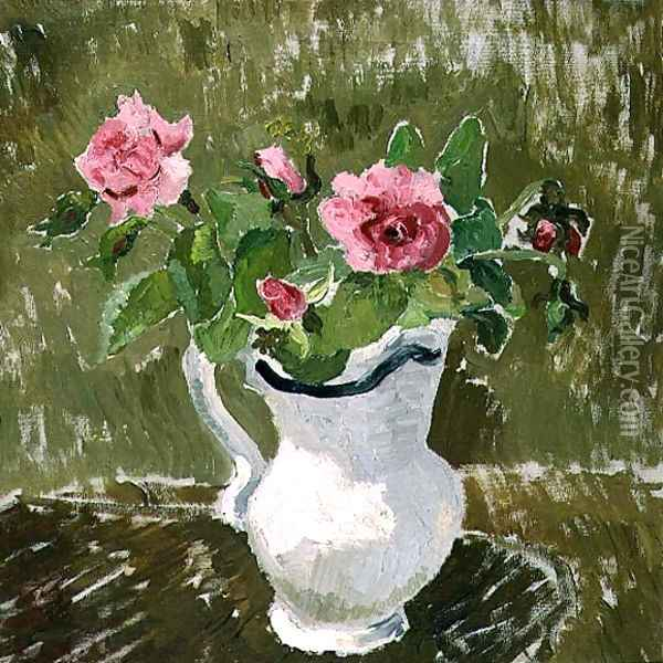 Roses in a White Jug, 1928 Oil Painting - Christopher Wood