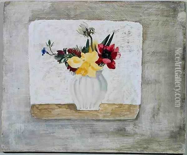 Spring Flowers in a White Jar, c.1930 Oil Painting - Christopher Wood