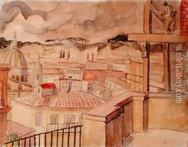 Italian Town Oil Painting - Christopher Wood