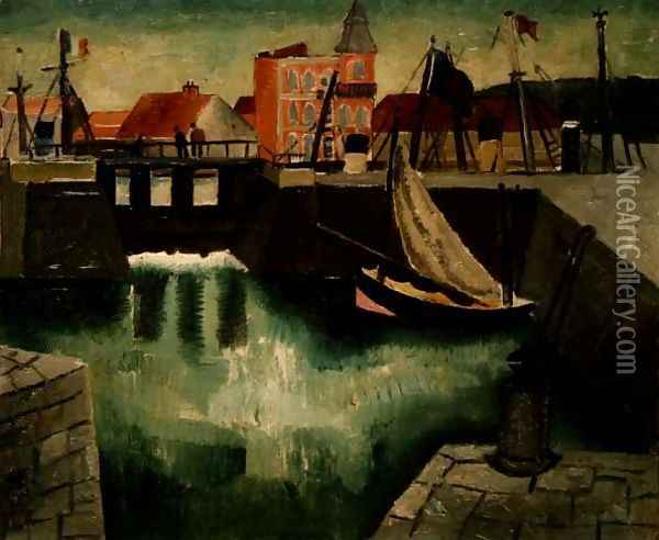 Harbour, Dieppe, 1929 Oil Painting - Christopher Wood