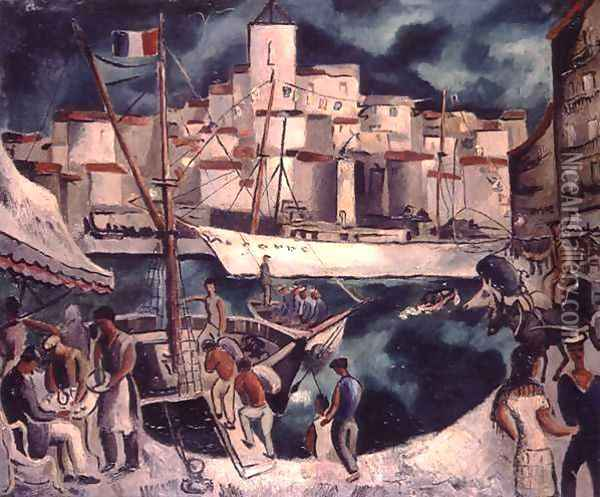 Marseilles Harbour Oil Painting - Christopher Wood