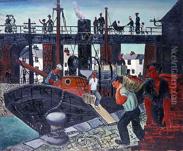 Loading the Boats, St. Ives, 1926 Oil Painting - Christopher Wood