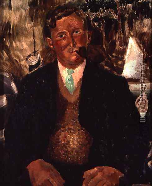 Man with a Green Necktie Oil Painting - Christopher Wood