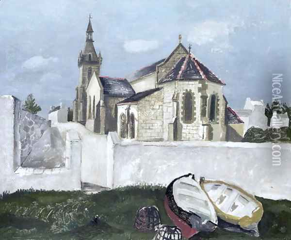 Treboul Church, Brittany, 1930 Oil Painting - Christopher Wood