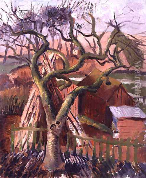 Landscape at Broadchalke, View from the Doctor's Window, 1925 Oil Painting - Christopher Wood