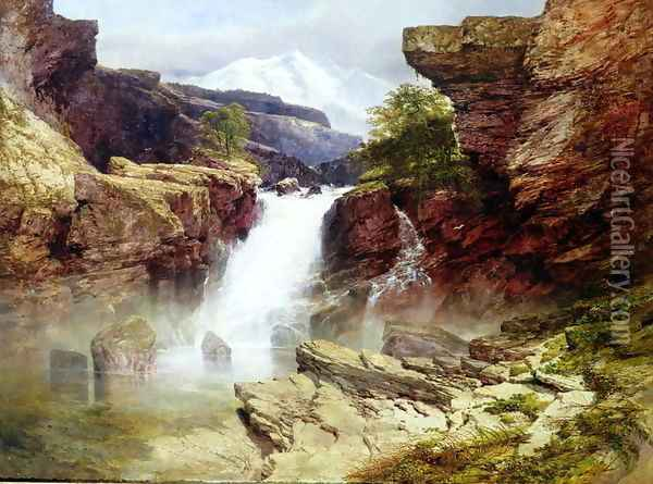 A Rocky Torrent Oil Painting - William West