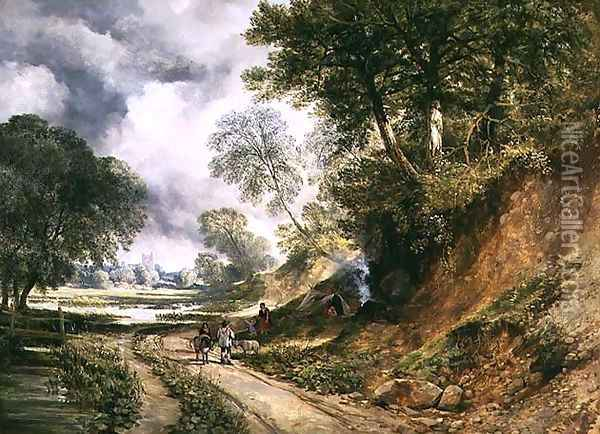 Gypsies Camping by a Path Oil Painting - William West