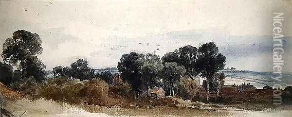 A Wooded Landscape with Cottages Oil Painting - Peter de Wint