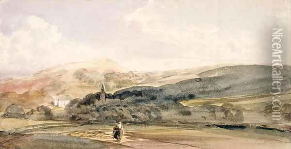 A Landscape with Figures at Malvern Oil Painting - Peter de Wint