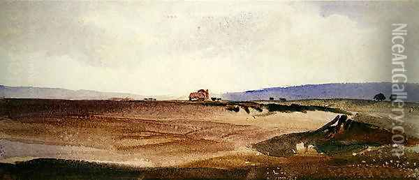 An Open Landscape with a Cart in the Distance Oil Painting - Peter de Wint