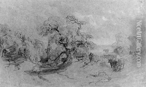 Cattle on the edge of a lane, a church beyond Oil Painting - Peter de Wint