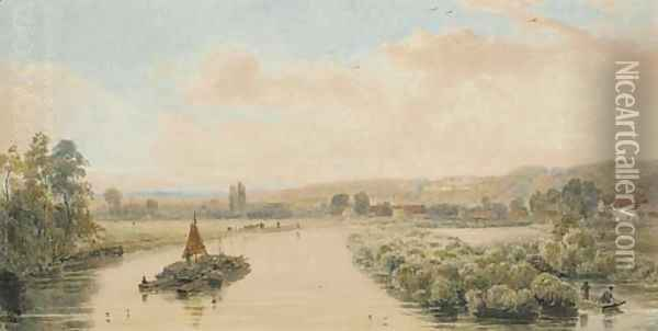 View of the Thames from Maidenhead Bridge Oil Painting - Peter de Wint