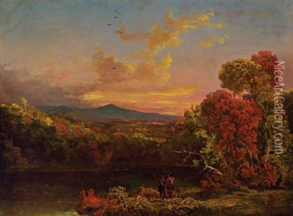 Landscape With Two Figures At Sunset Oil Painting - Thomas Cole
